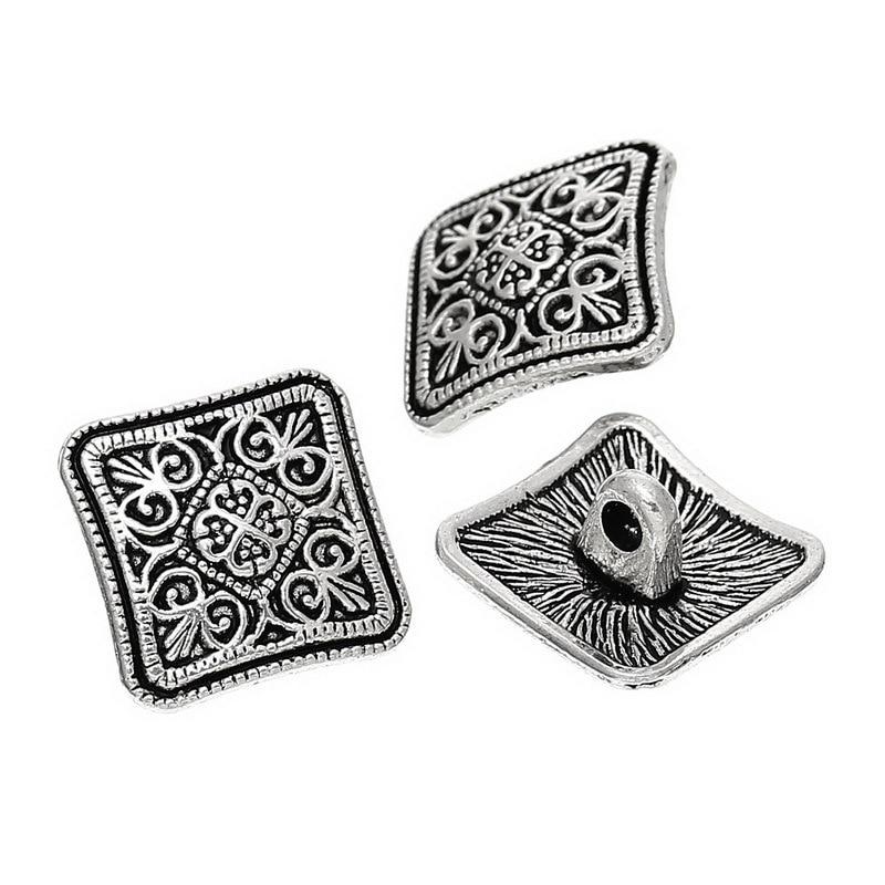 ᐂ50 unids metal shanked Botones patrón grabado tono plata Vaqueros ...