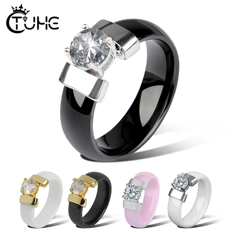 New Style 6mm Ceramic Rings Black White Ring With Cubic Zirconia For Women Gold Metal Smooth Wedding Ring Engagement Jewelry