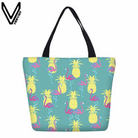VEEVANV Women Handbag Fashion Flamingo Printed Shoulder Bag Canvas Shopping Bag New Designer Beach Bag School