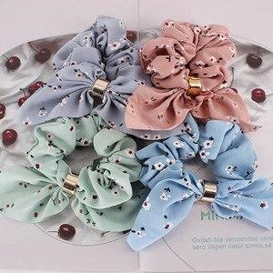 Женские резинки для волос с цветочным принтом, милые разноцветные резинки для волос, летние резинки для волос