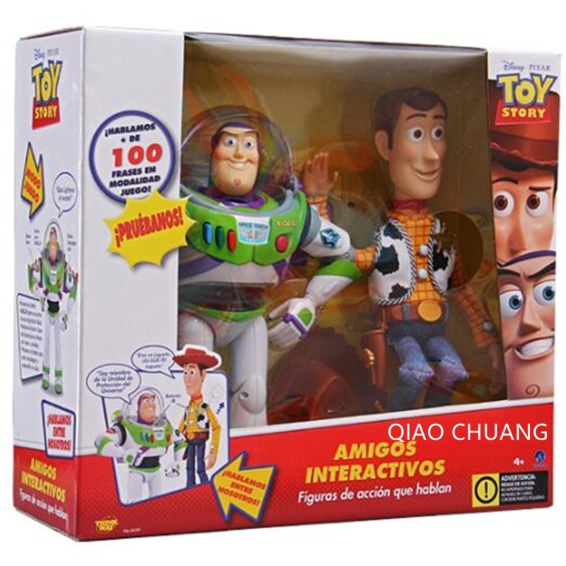 Toy Story Woody Sheriff And Buzz 3 English Speak Model Buzz Light Year Box-Packed PVC Action Figure Collectible Model Toy L352 wisehawk nanoblocks toy story super mario woody buzz bulleye action figure movie cartoon model diy diamond micro building bricks