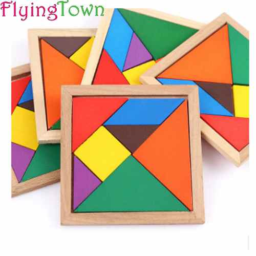 3pcs FlyingTown Educational 3D Puzzle Jigsaw Wooden Toys For Children Cartoon Animal Puzzles Intelligence Kids Children Toy