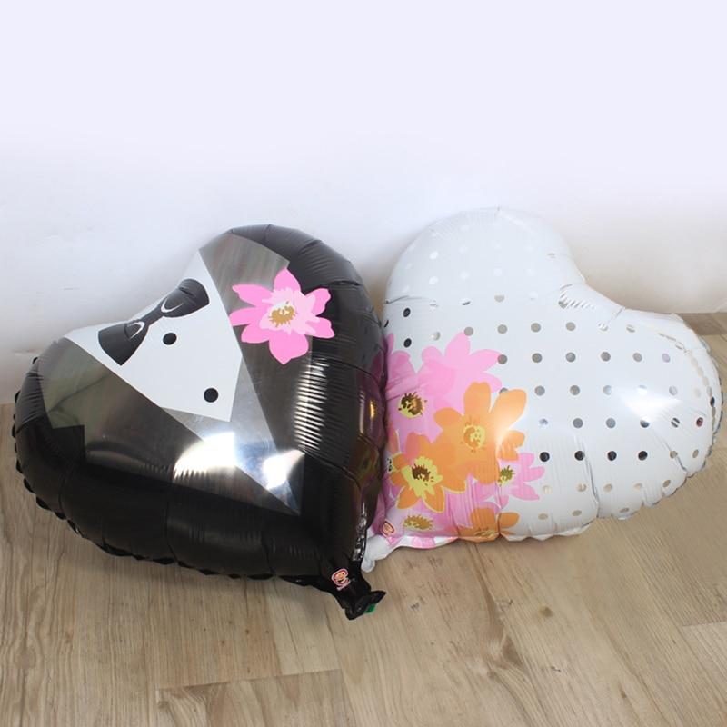 2d9085426 5 pçs lote 18 inch coração Da Noiva e Do Noivo Vestido Forma Balões Folha  Dos Desenhos Animados Balão de Aniversário Festa de Casamento Decoração toy