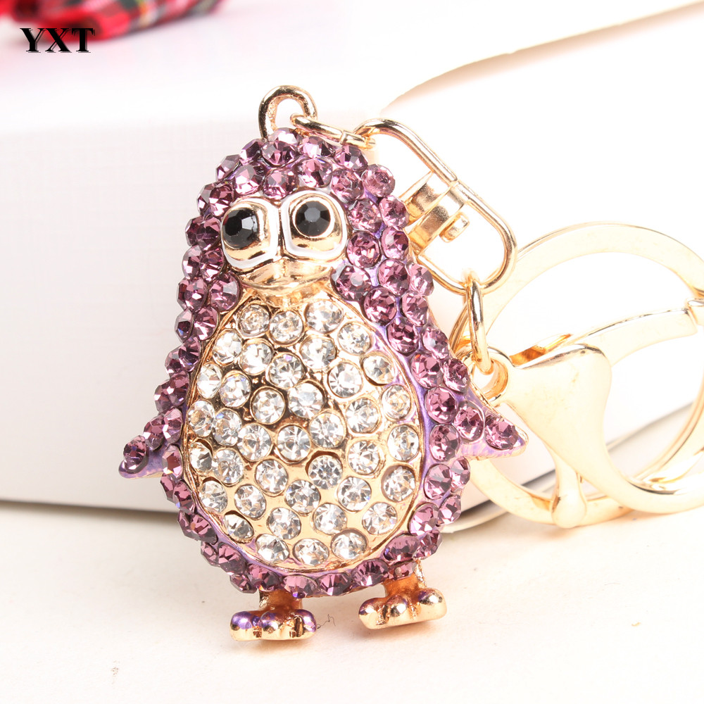 Hot Top Selling Petty Penguin Bird Lovely Cute Charm Pendent Rhinestone Crystal Purse Bag Key Chain Best Gift&Souvenir