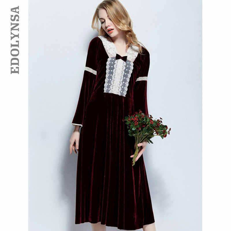 Elegante camisón rojo vino invierno cálido terciopelo ropa de dormir  señoras Vintage encaje Patchwork manga larga c89e925992a0