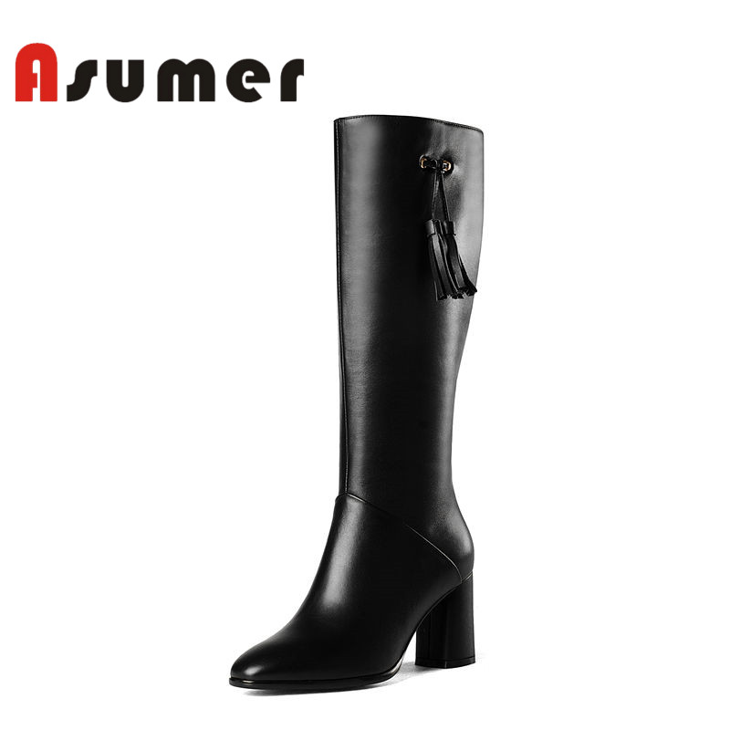 ASUMER NEW 2018 popular fringe knee high boots square toe solid simple women boots winter thick heels pu+genuine leather boots