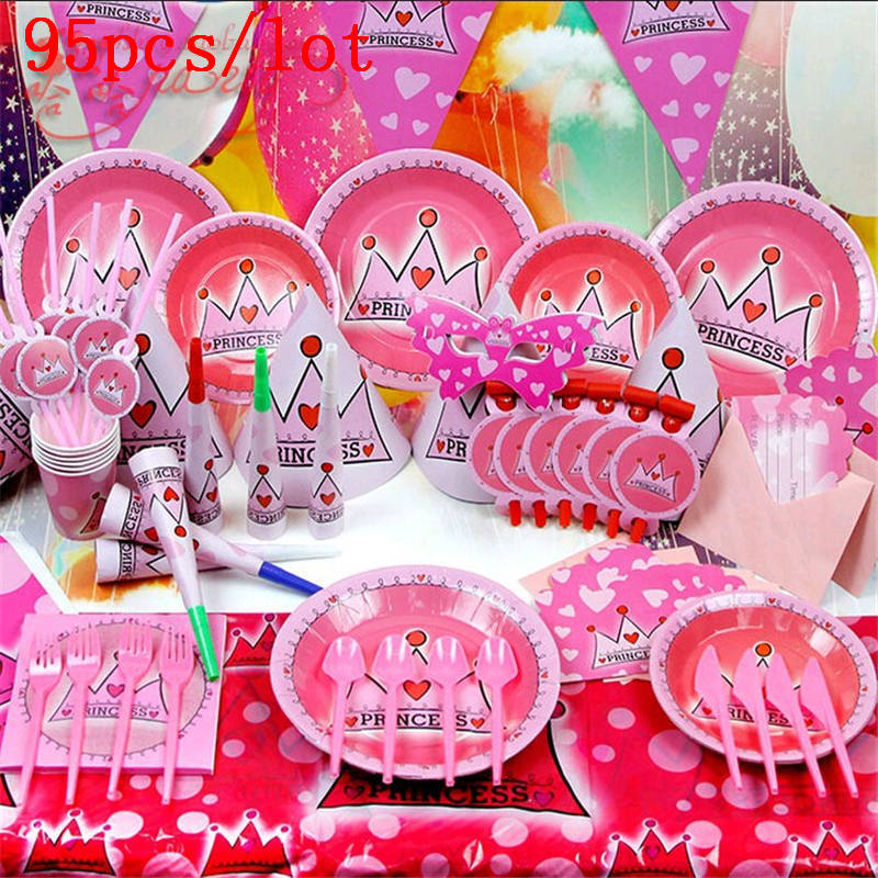 95pcs/lot Party supplies pink crown set childrens happy birthday decoration sets of childrens toys paper cap noise production
