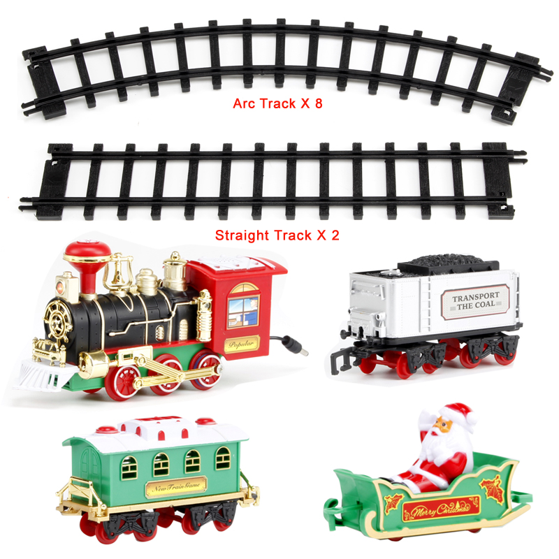 Christmas Decoration Railway Train with Sound/Light/Santa Claus Classic Toys Track 103*77cm Electric Train toys for Children