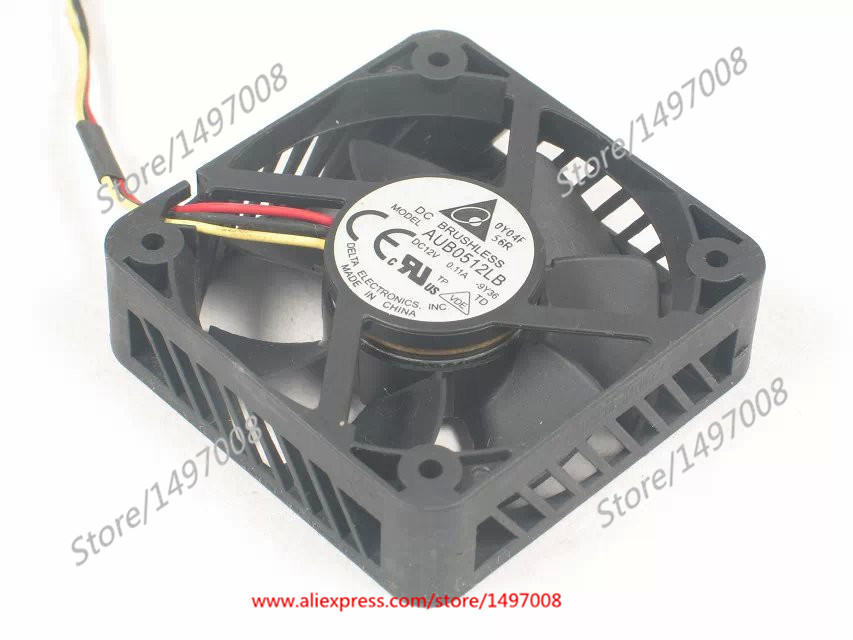 Free Shipping For DELTA  AUB0512LB-9Y36  DC 12V 0.11A 3-wire 3-pin connector 50mm  Server Square fan free shipping for delta afc0612db 9j10r dc 12v 0 45a 60x60x15mm 60mm 3 wire 3 pin connector server square fan