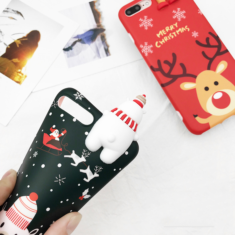 HTB1K4l7awjN8KJjSZFCq6z3GpXa6 - Christmas Gift Phone Case For iPhone 6 6S 7 8 Plus Cartoon Christmas Deer & Snowman Soft TPU Phone Back Cover Cases PTC 284