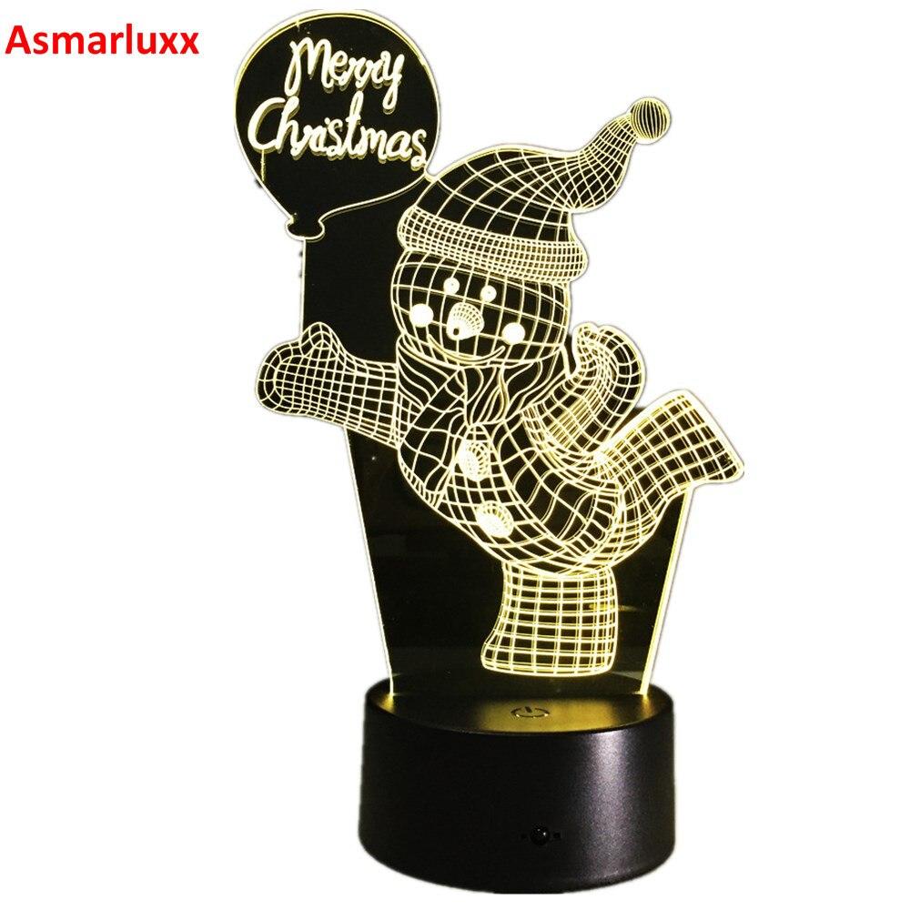 Snowman Lamp 3D Visual Led Night Lights Child Kid Free Shipping 3D LED Illusion Table Lamp Hologram Merry Christmas Decor Gift