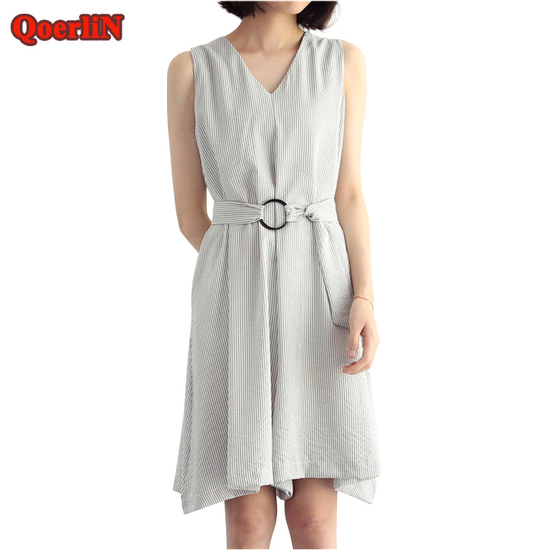 QoerliN Striped Office Palazzo Trouser Dress Women 2018 Summer Loose Casual Korean Style Dress Girls Overalls Dresses Workwear