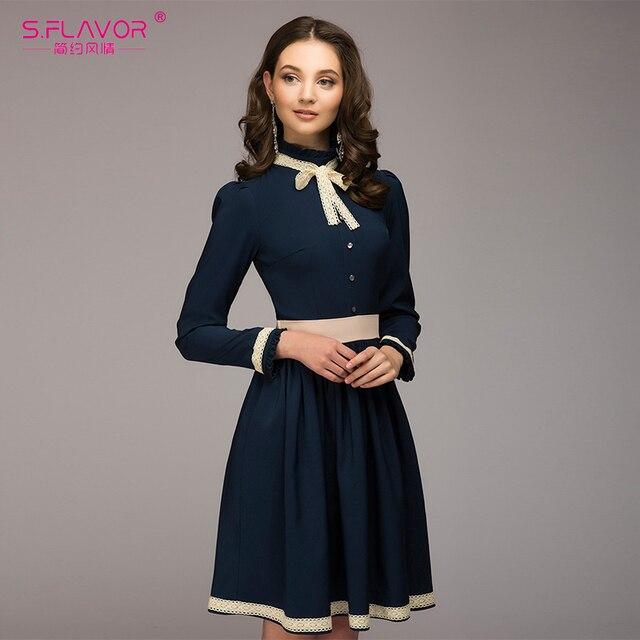 deb2da85507 S.FLAVOR women A-line vintage dress hot sale solid lace patchwork knee  length vestidos for female women spring summer dress