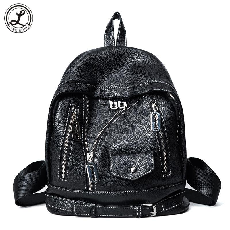 Women Girls Fashion Black Schoolbag Soft Pu Leather Pink Backpacks Ladies Travel Back Bag Small Pack