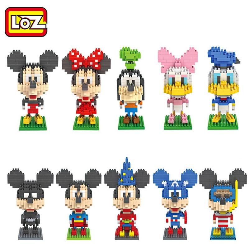 LOZ игрушки мультфильм Микки Семья алмаз Nano блоки Минни Дональд Дейзи Дак строительные ...