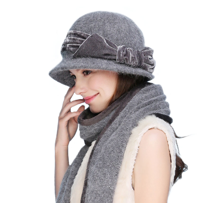 Image 2 - FS Women Wool Rabbit Fur Knitted Fedora Hat Fashion Vintage Wide Brim Female Winter Hats Neck Warmer Cap With Scarf-in Women's Fedoras from Apparel Accessories