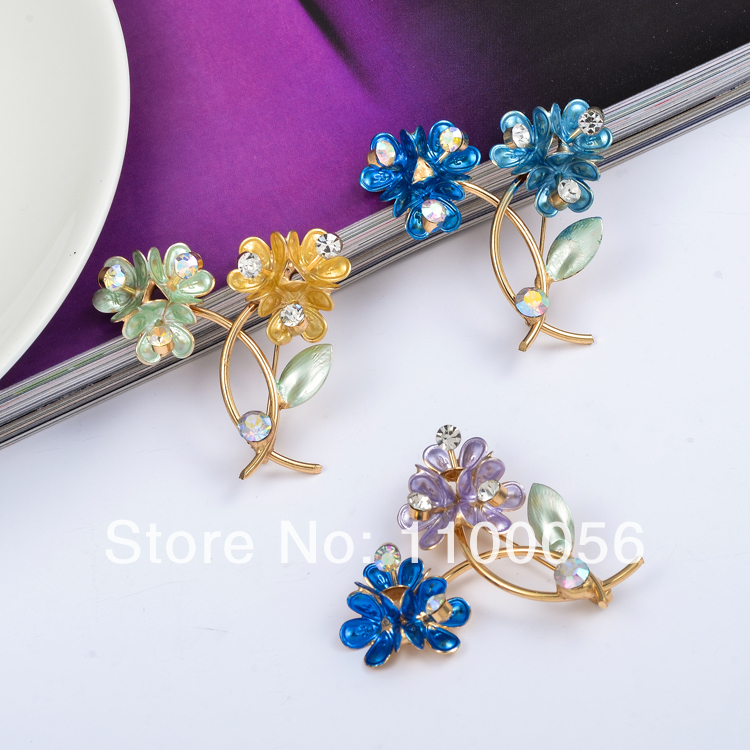 Free Shipping Fashion Boutonniere Jewelry Rhinestone Bouquet Brooch Fabric Flower Brooches Pins For Women X1348