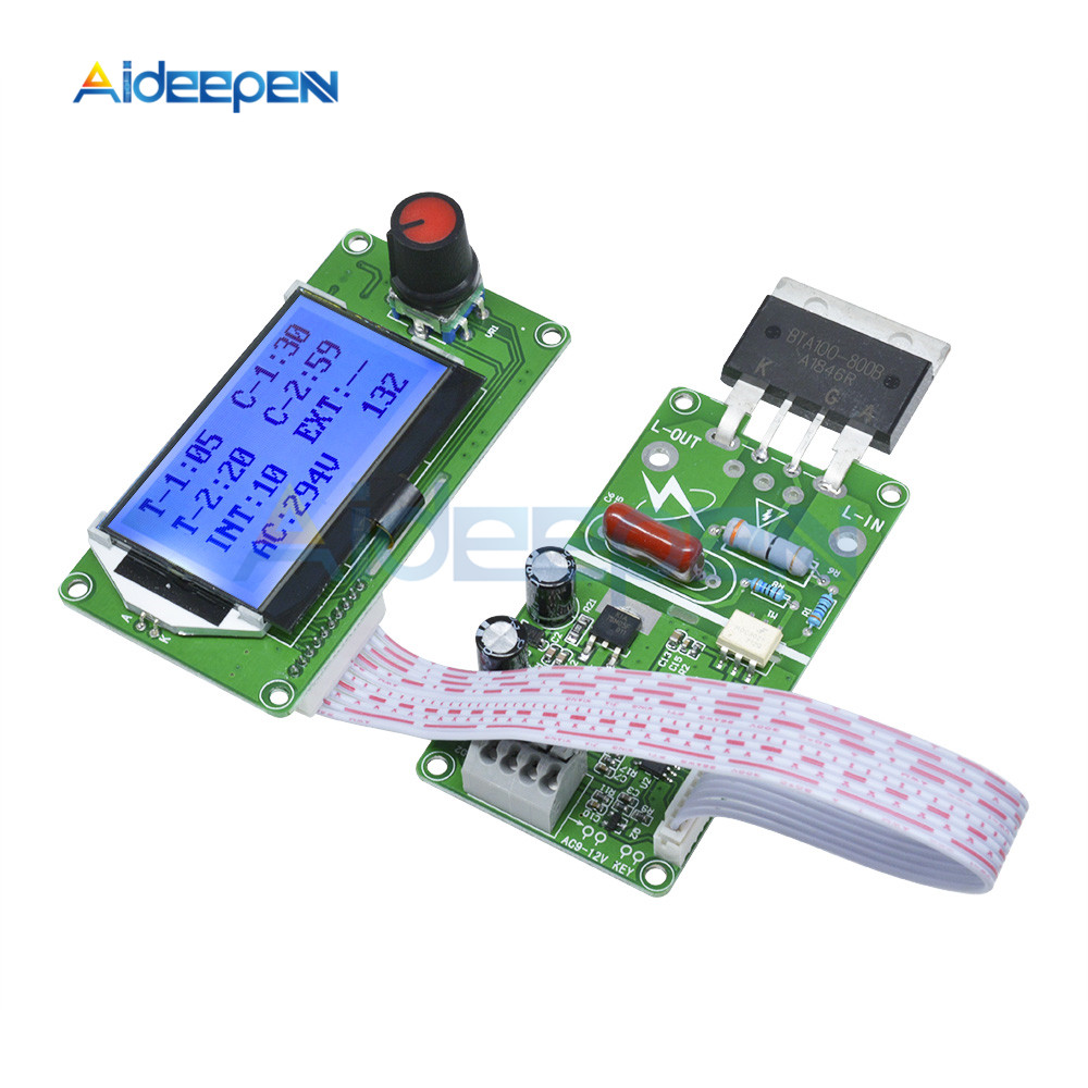 100A Digital LCD Spot Welder Welding Machine Double Dual Pulse Encoder Time Control Weld Module Board Electronic Controller