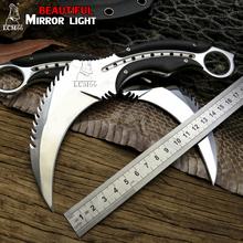 LCM66 światło lustrzane scorpion pazur nóż odkryty camping jungle survival bitwa karambit ostrze stałe noże myśliwskie samoobrona tanie tanio Maszyny do obróbki drewna STEEL Składany nóż 205mm 93mm 115mm 37mm 440 steel 59-60HRC 160 g Camping Knife