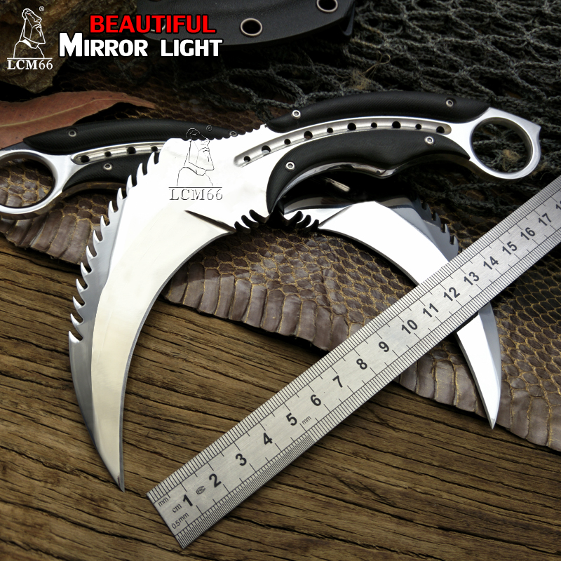 LCM66 Mirror light scorpion claw knife outdoor camping jungle survival battle karambit Fixed blade hunting knives self defense straight knife tool the outdoor one doomsday boar claws scorpion claw knife lifesaving claw knife