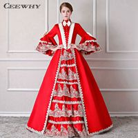 CEEWHY High Collar Halloween Evening Dress Turkey Red Evening Gown Vintage Ball Gown Prom Dresses Plus Size Abendkleider