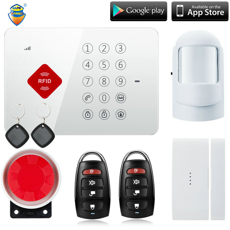 (1Set) Factory Android ISO App Wireless GSM Home Alarm System SIM Smart Home Burglar Security Alarm System Kit better than alar free shipping android app wireless gsm home alarm system sim smart smoke home burglar security alarm system kit pir infrared
