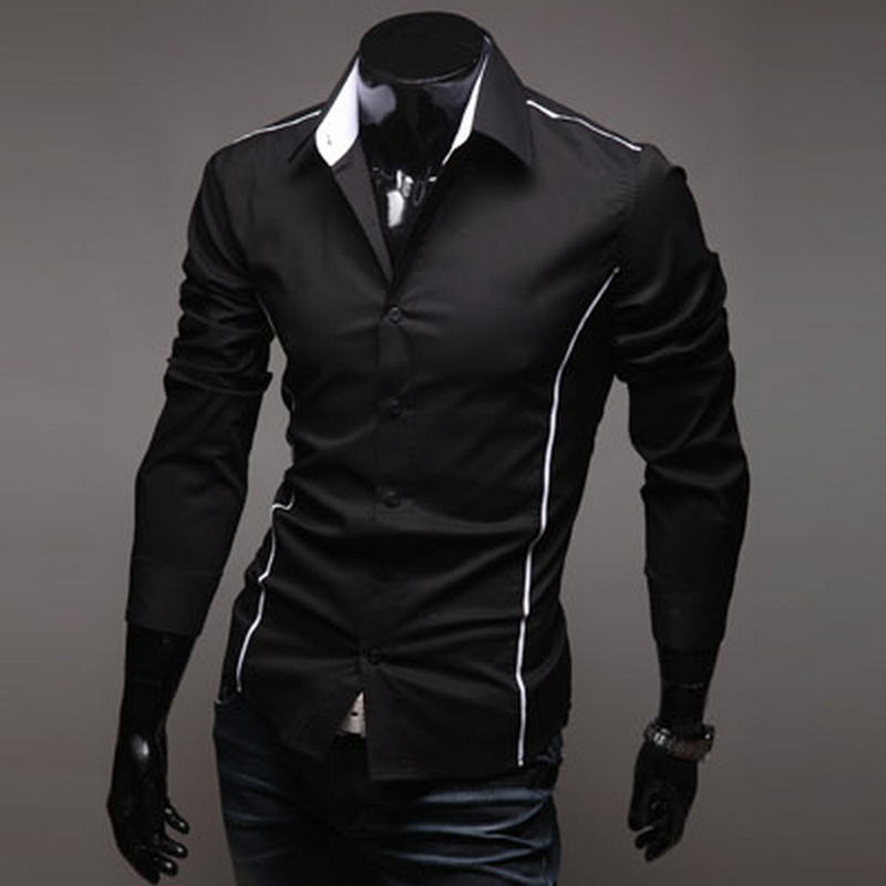 2018 Men's Luxury Stylish Casual Designer Edge Piping Long Sleeve Dress Shirt Muscle Fit Shirts 3 Color 5902