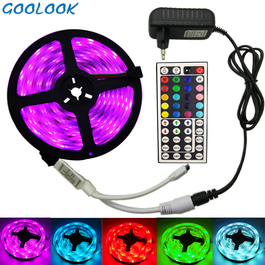 LED Strip Light RGB SMD 5050 2835 LED Tape 5M Waterproof LED Flexible strip diode lighting Ribbon controller DC 12V Adapter set waterproof 72w 4300lm 300 5050 smd led rgb light flexible strip w 44 key controller 5m dc 12v