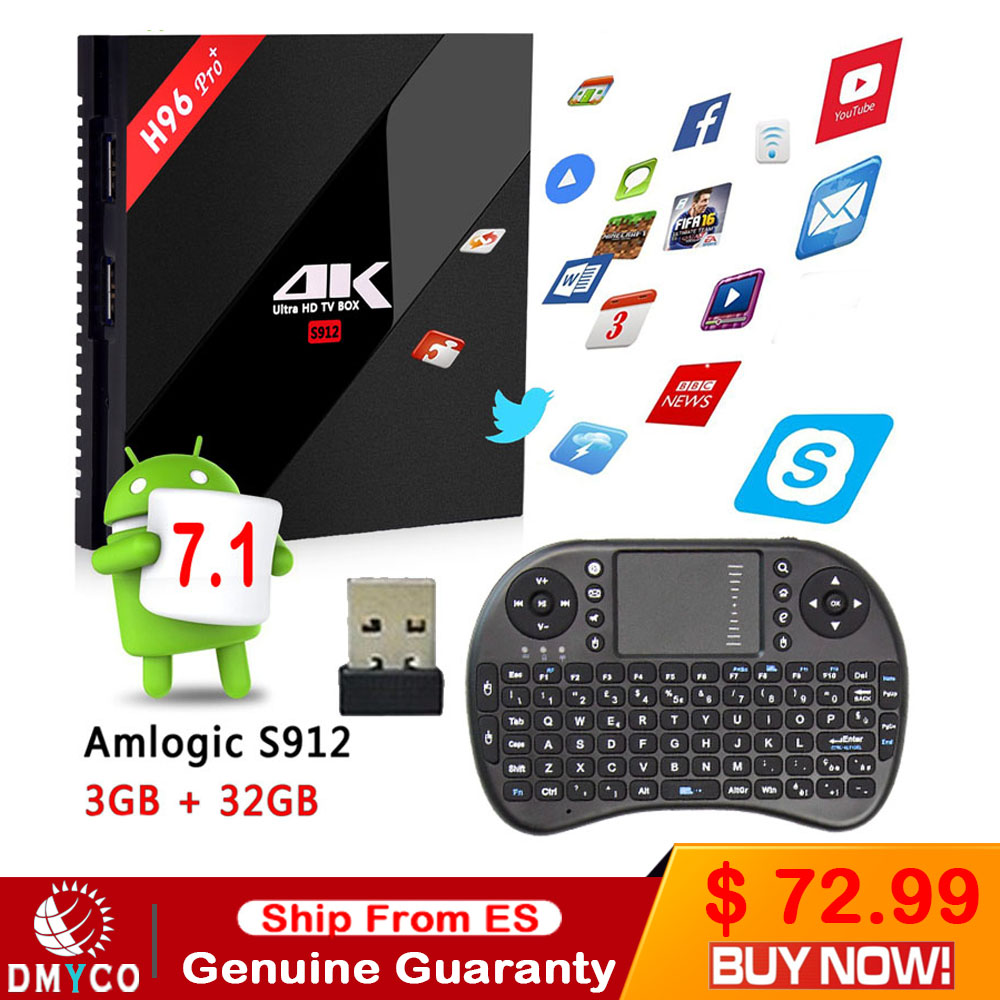 [Genuine] h96 pro plus 3g 32g Smart TV Box Android 7.1 Amlogic S912 OCTA Core Wifi 4K H.265 h96 media player h96pro set top box akaso h96 pro plus smart tv box android 7 1 tv box 2gb 16gb amlogic s912 octa core 2 4g 5 8g wifi h 265 4k set top box