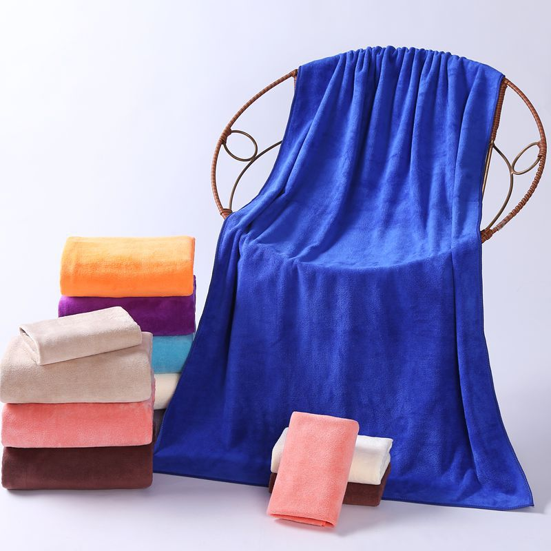high quality thicker bath towel microfiber beach towel sets of towels solid purple blue pink bed