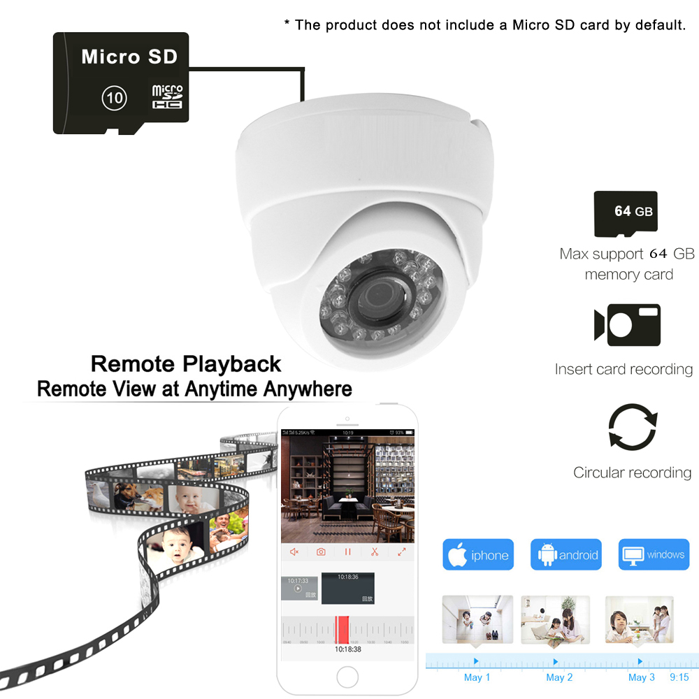 Image 3 - Ip Camera Wifi 1080P 960P 720P Cctv Surveillance Video Security Wireless Audio IPCam Indoor Wired Cam Infrared Home Dome Camera-in Surveillance Cameras from Security & Protection
