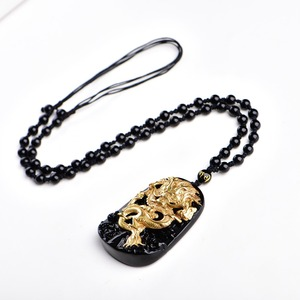 Image 5 - Бесплатная доставка, оптовая продажа, золотой, натуральный, черный обсидиан, резьба, дракон, счастливый амулет, кулон для женщин и мужчин, подвески, модные ювелирные изделия