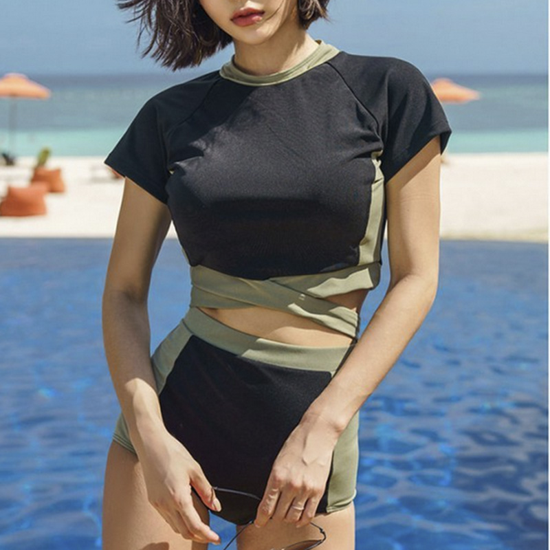 Women's Two Pieces Swimsuit Black High Neck Tie Knot Back Padded Wireless Top With Black High Waist Bottom Bathing Suit