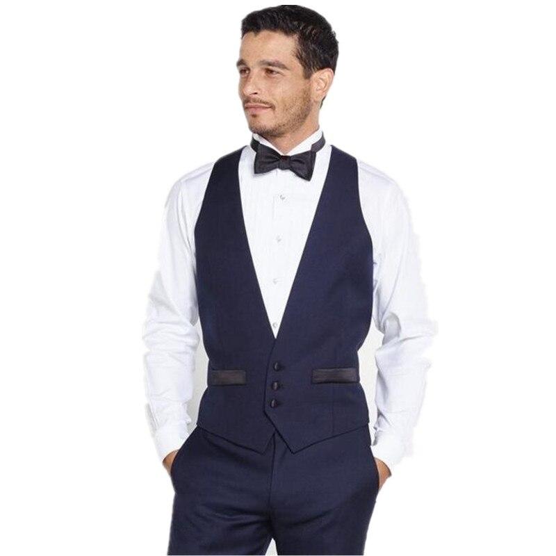 New Arrival Navy Blue V Neck Man Waistcoat for Suits Mens Wedding Prom Dinner Vests Best Man Groomsman Waistcoats