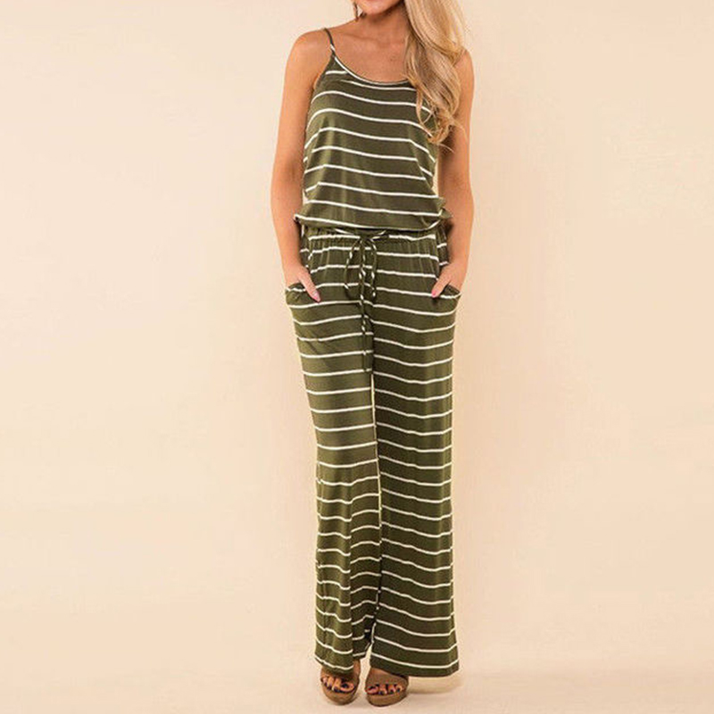 2018 Plus Size Summer Women Casual Sleeveless Strappy Striped Loose Boho Beach Party Long Jumpsuits Bodysuit Playsuits Overalls