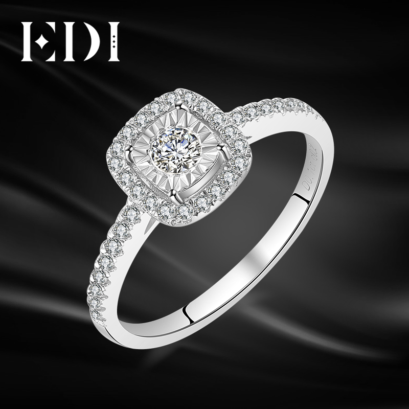 EDI Classic Halo 0.34cttw Real Natural Diamond Rings 14k 585 White Gold Wedding Bands Jewelry For Women