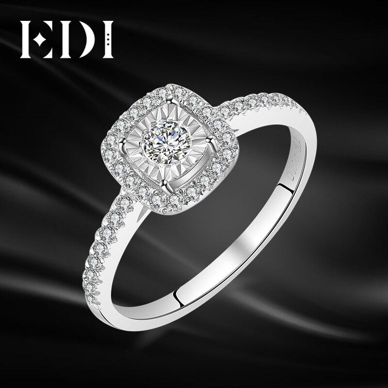 EDI classique Halo 0.34 cttw véritable diamant naturel anneaux 14 k 585 or blanc bandes de mariage bijoux pour femmes