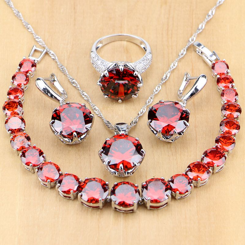 925 Silver Jewelry Sets Red Cubic Zirconia White CZ Beads For Women Wedding Earrings/Pendant/Necklace/Rings/Bracelet