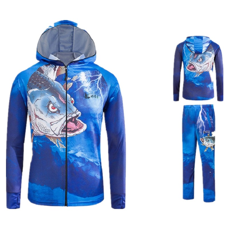 Рыбалка Костюмы с длинным рукавом с капюшоном летние быстросохнущие анти-УФ Защита от солнца дышащий футболка + брюки для рыбалки отдых кос...