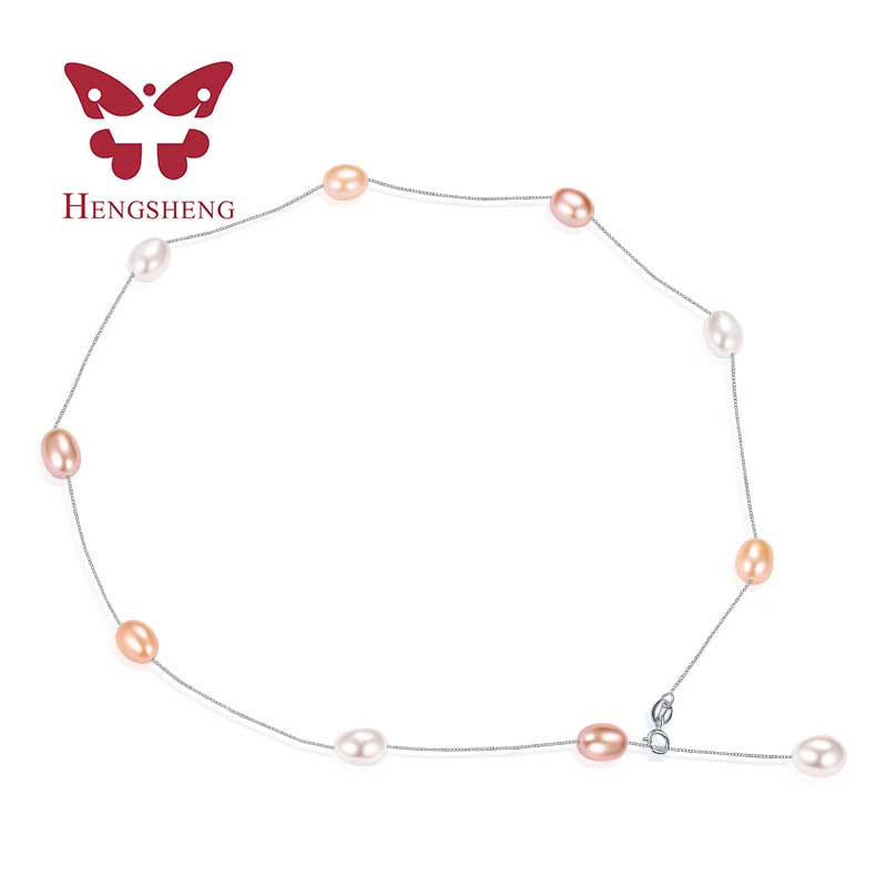 Shiny star design 6-7mm lovely high luster pearl necklace for friend giftmyself with white pink purple mix color Hot sale 2017