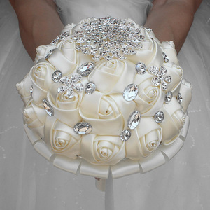 Image 2 - WifeLai A 1Piece Cream Ivory Artificial Flowers Bridal Brooch Bouquets Stunning Crystal Stitch Bridesmaid Wedding Bouquets W236
