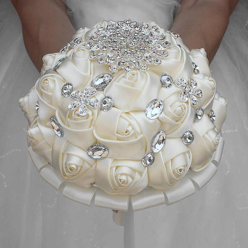 Wifelai-1 Buah Krim Gading Bunga Buatan Bros Bridal Karangan Bunga Yang Menakjubkan Kristal Stitch Bridesmaid Pernikahan Karangan Bunga W236