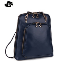 2016 New Style Girl's School Backpacks Colorful 100% Genuine Leather Women Bags Backpack Preppy Style Girl Bag Backpack