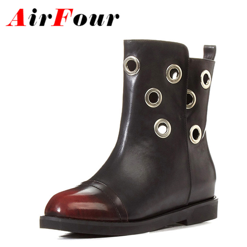 ФОТО Airfour 2 Colors Blue Shoes Woman Low Heels Large Size 34-43 Winter Short Boots Cuts-out Ankle Boots for Women Platform Shoes