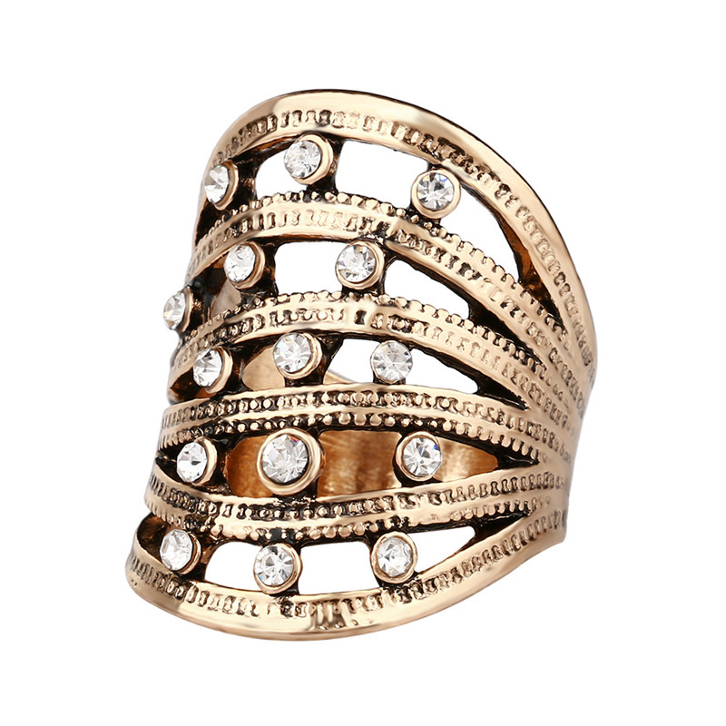 Trendy Retro Antique Silver Gold Crystal Vintage Hollow Carving Big Rings Decoration Finger Jewelry For Women Men Anelli Donna