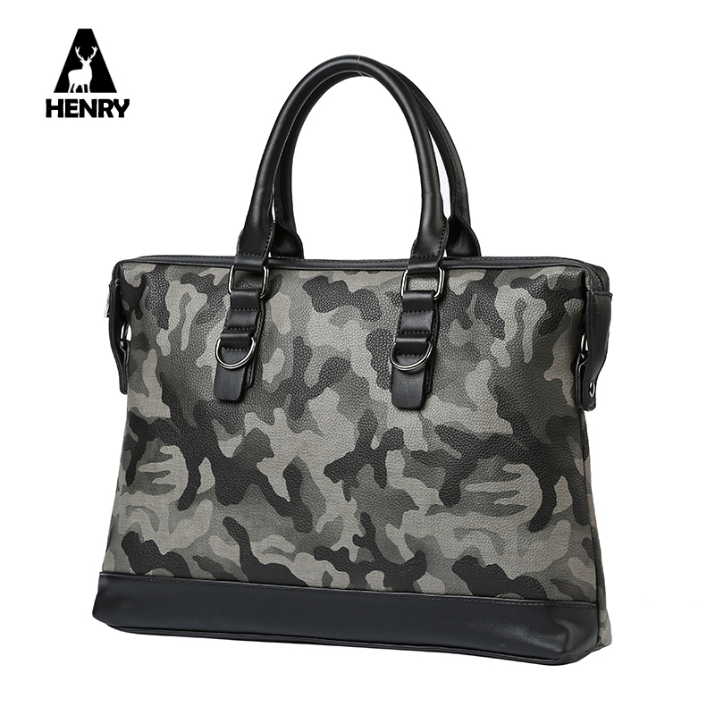 2016 Newest Camouflage Men Handbag High Quality Pu Fashion Design Top Handle Bag For Ipad