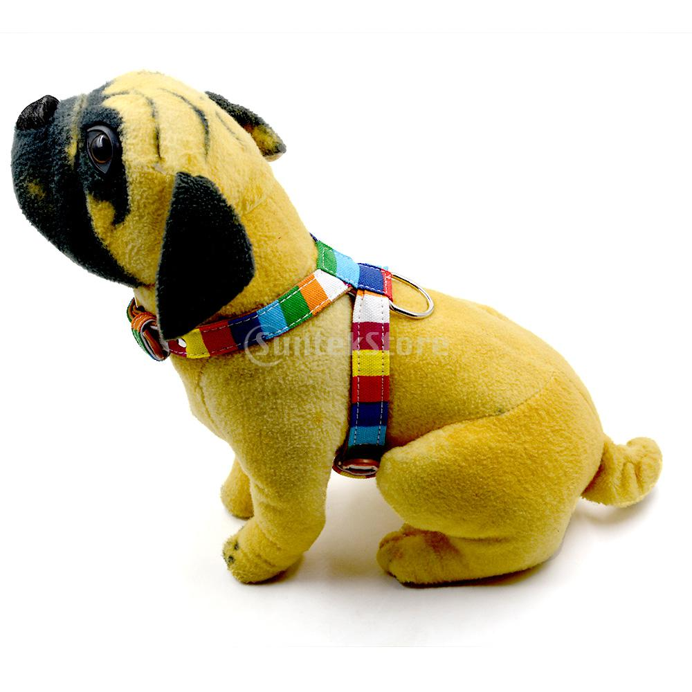 Adjustable Dog Puppy Harness Pet Rainbow Vest Chest Strap Safe Walking Belt Size S - XXL