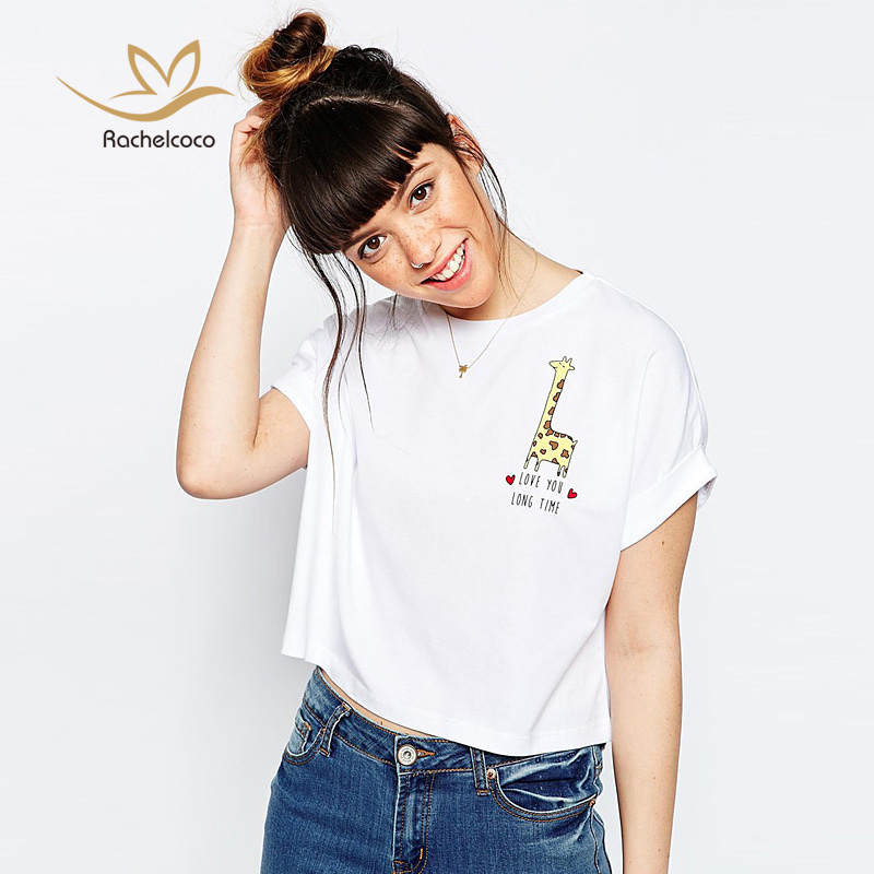 2016 Summer Casual Cute Girl Tees Round Neck Short Sleeve Cartoon Giraffe Print Loose Soft T Shirt Women All Match Tops White