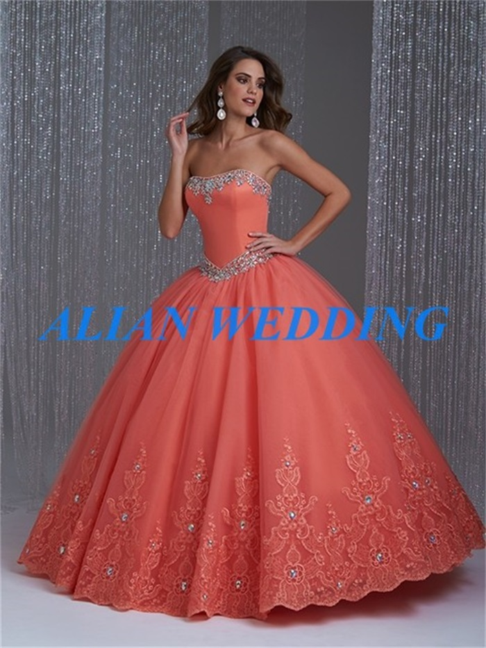 Online Shop High Fashion Coral Quinceanera Dresses 2015 Strapless ...