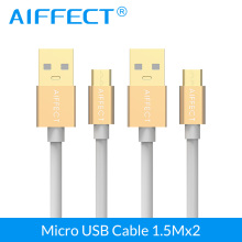 AIFFECT High Speed Micro B Cable Aluminum USB Micro-USB to Standard Cord Data Charging 5FT X 2 Pieces